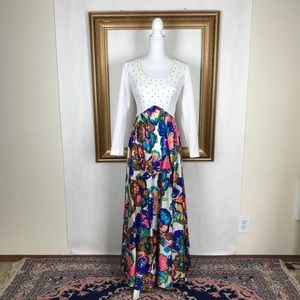 VTG bedazzled bright floral maxi dress